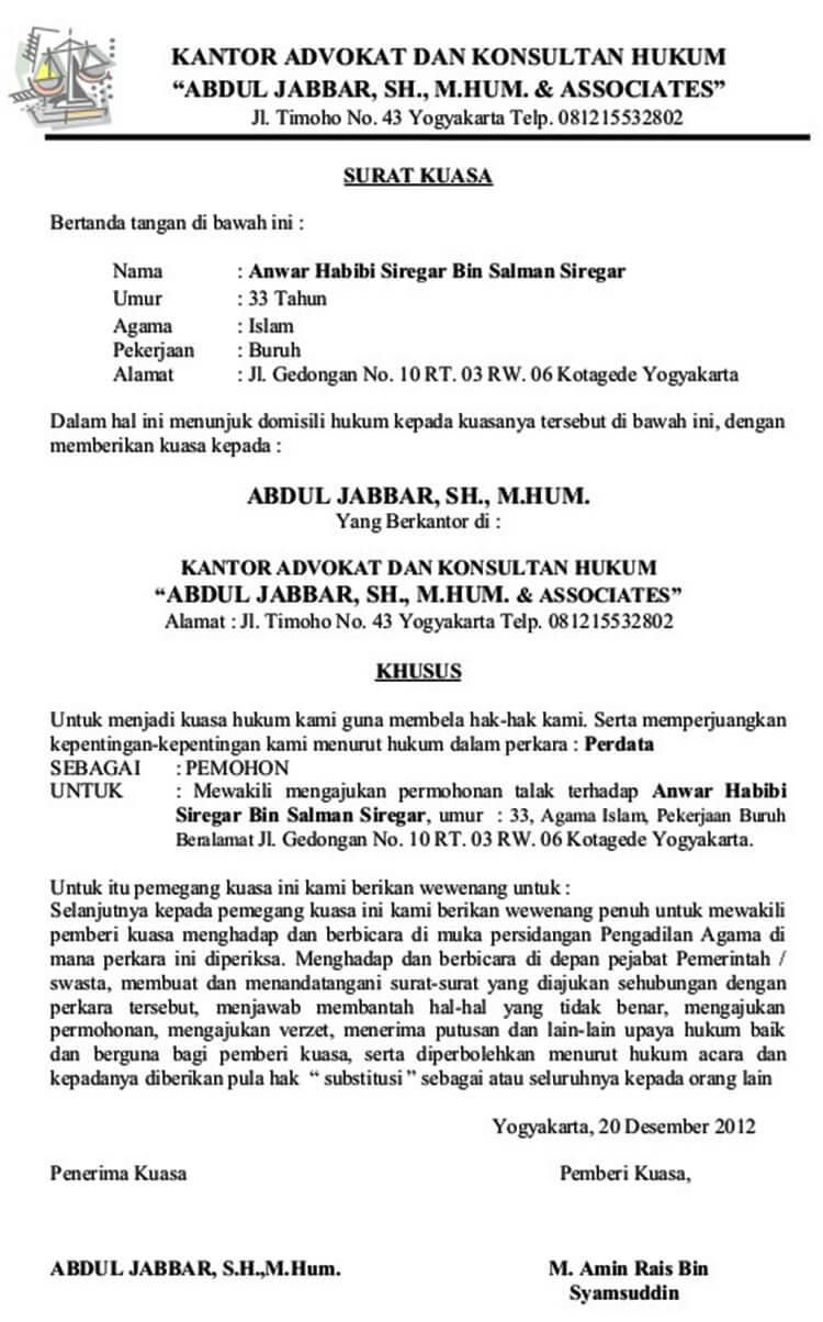Contoh Surat Kuasa Khusus Perwakilan Bpkb Ijazah