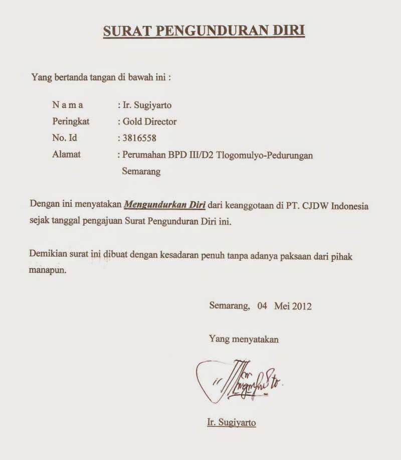 11 Contoh Surat Pengunduran Diri / Resign Kerja yang Baik ...