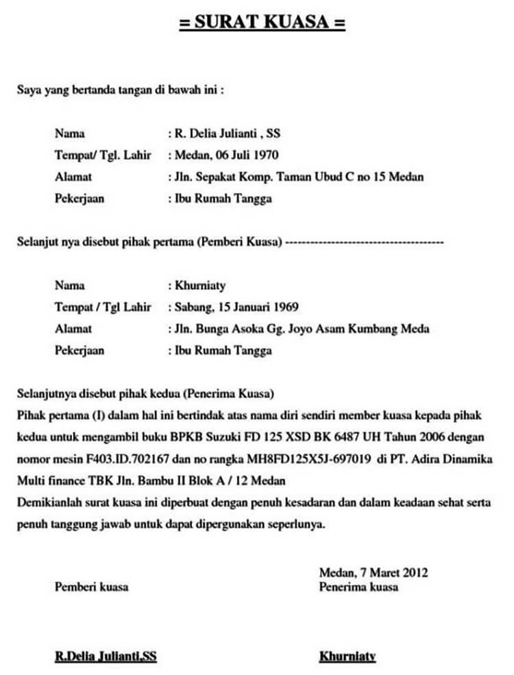 Contoh Surat Kuasa Khusus / Perwakilan / BPKB / Ijazah ...