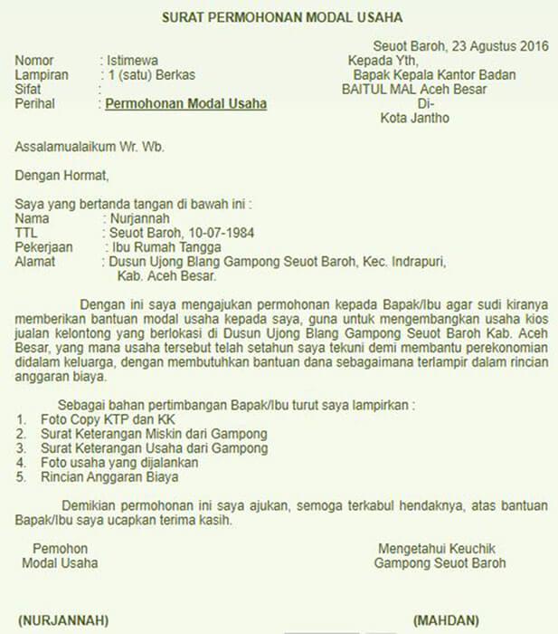 contoh surat permohonan modal usaha